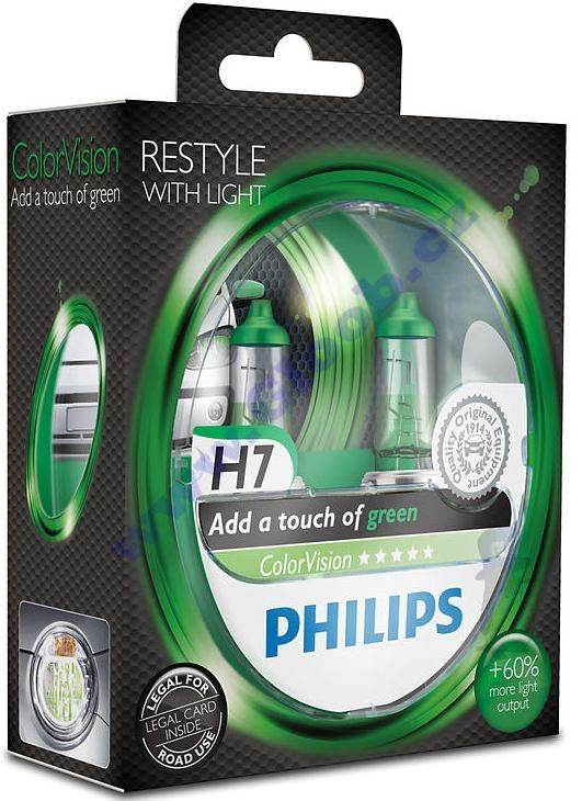 Autožárovky H7 12V Zelený design ColorVision Green Philips